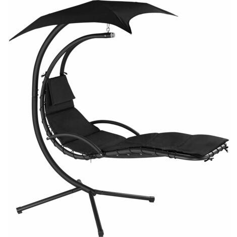 Transat bain de soleil meuble jardin suspendu noir - Noir