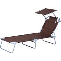 Transat bain de soleil pliable grand confort dossier et pare-soleil réglable multi-positions