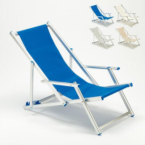 Transat chaise de plage avec accoudoirs piscine aluminium Riccione Lux
