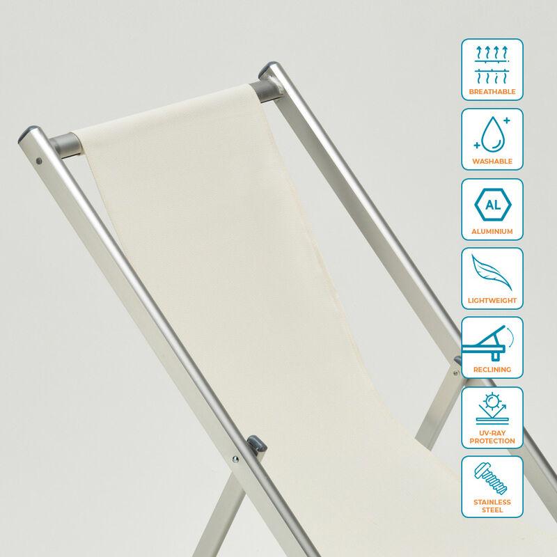 Transat Piscine Plage Riccione Pliant Chaise De Aluminium Jardin v8wmnN0