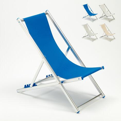 Transat chaise de plage pliante piscine jardin aluminium Riccione