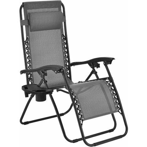 Transat chaise longue de jardin inclinable pliable avec porte gobelet coussin acier polyester plastique 112 cm gris - Gris