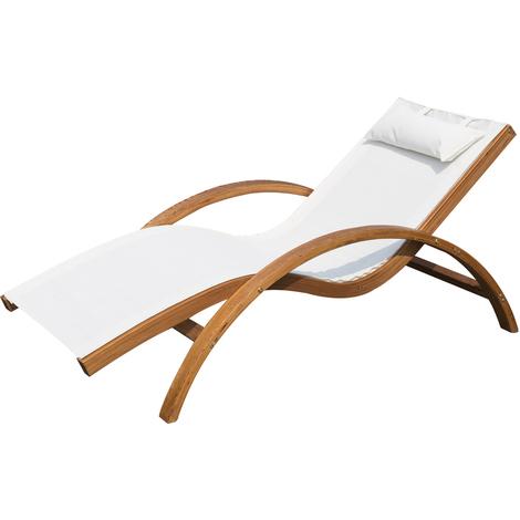 Transat chaise longue design style tropical bois massif naturel coloris beige blanc