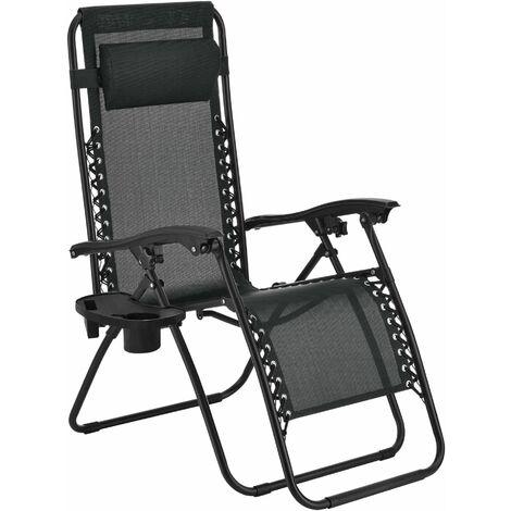 Transat chaise longue inclinable pliable de jardin avec porte-gobelet porte-portable coussin de tête amovible acier 112 cm noir - Noir