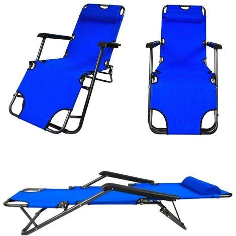 Transat chaise longue jardin plage 3 positions Bleu -