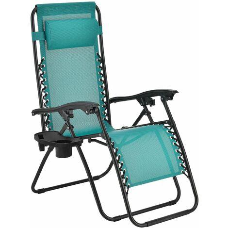 Transat chaise longue pliable de jardin acier polyester plastique 112 cm turquoise