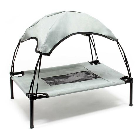 Transat Chien Gris 122x91x16cm 30kg max Lit Relaxant surélevé Animal domestique protection soleil XL