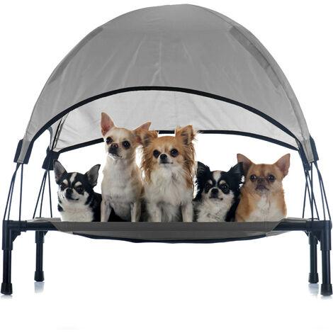 Transat Chien Gris 60x45x16cm 15kg max Lit Relaxant surélevé Animal domestique protection soleil S