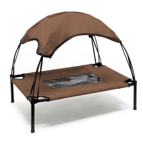 Transat Chien Marron 122x91x16cm 30kg Lit Relaxant surélevé Animal domestique protection soleil XL