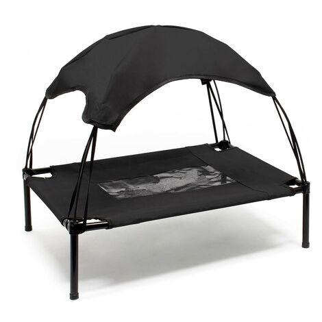 Transat Chien Noir 122x91x16cm 30kg max Lit Relaxant surélevé Animal domestique protection soleil XL
