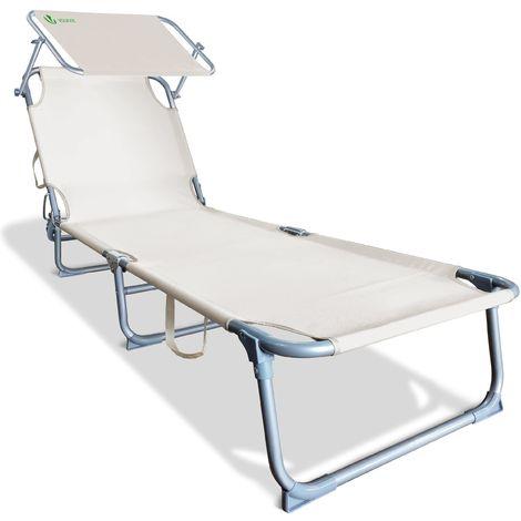 Transat de bain avec pare soleil   Chaise longue pliable