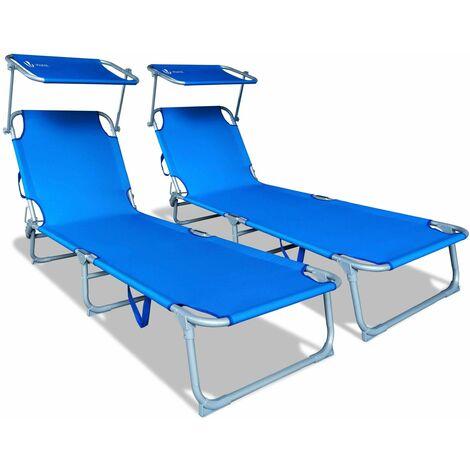 Transat de bain avec pare soleil | Chaise longue pliable