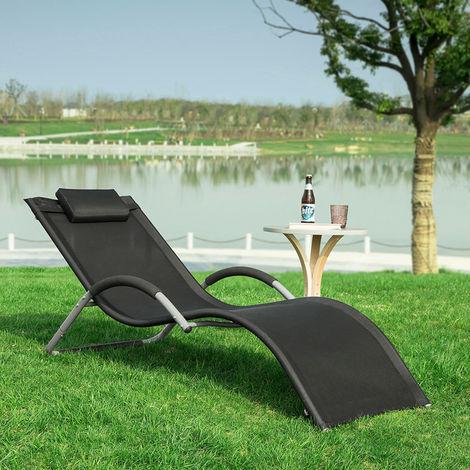 Transat de Jardin Chaise Longue Bain de Soleil - Noir OGS38-SCH SoBuy®