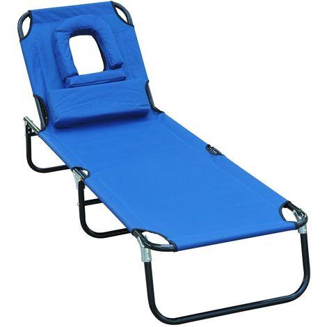 Transat de jardin chaise longue pliante bain de soleil pour lecture bleu