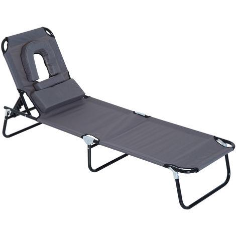 Transat de jardin chaise longue pliante bain de soleil pour lecture gris