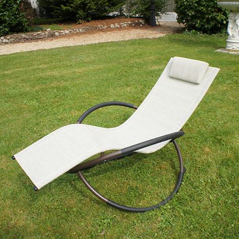 Transat de jardin en textilène gris chiné - SWING - 35-901070