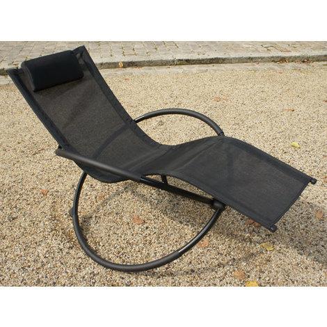 Transat de jardin en textilène noir - SWING - 35-901063