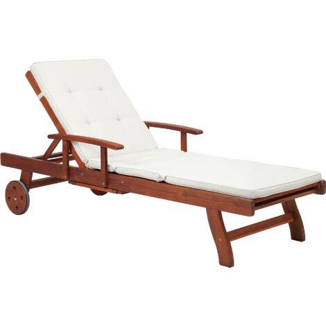 Transat en bois - chaise longue inclinable avec coussin beige - Toscana