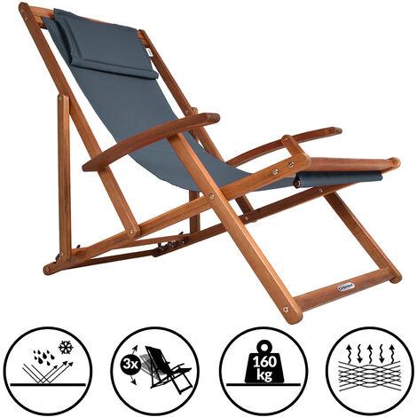 Transat en bois d'acacia réglable sur 3 niveaux Chaise de jardin pliable avec repose-tête