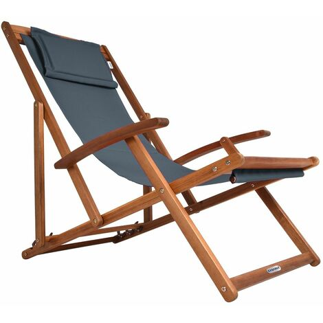 """main image of """"Transat en bois d'acacia réglable sur 3 niveaux Chaise de jardin pliable avec repose-tête"""""""