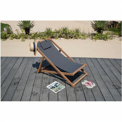 Transat en eucalyptus avec assise en polyester - Gris - MERI
