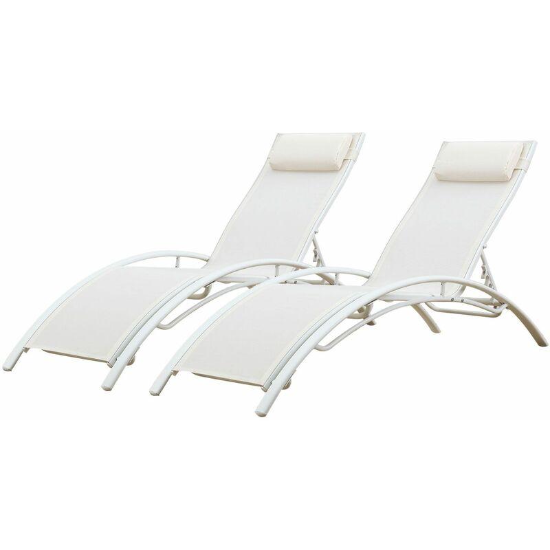 Happy Garden - Transat en textilène GALAPAGOS - lot de 2 - textilène blanc/structure blanche - Blanc