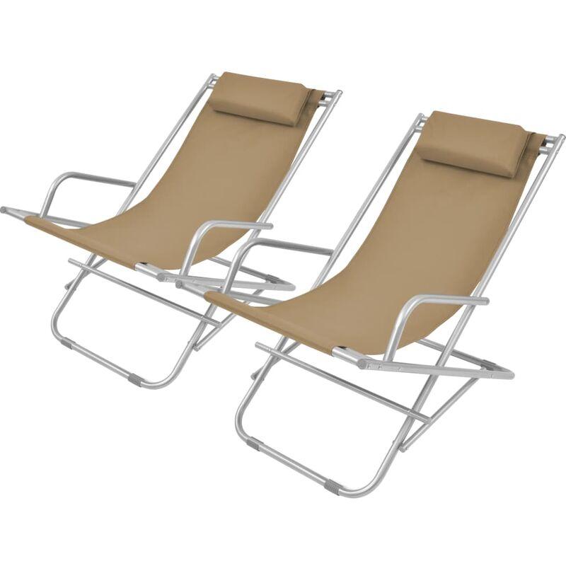 Chaises inclinables de terrasse 2 pcs Acier Taupe