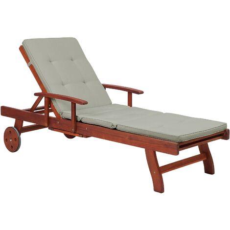 Transat inclinable en bois avec coussin gris-beige TOSCANA