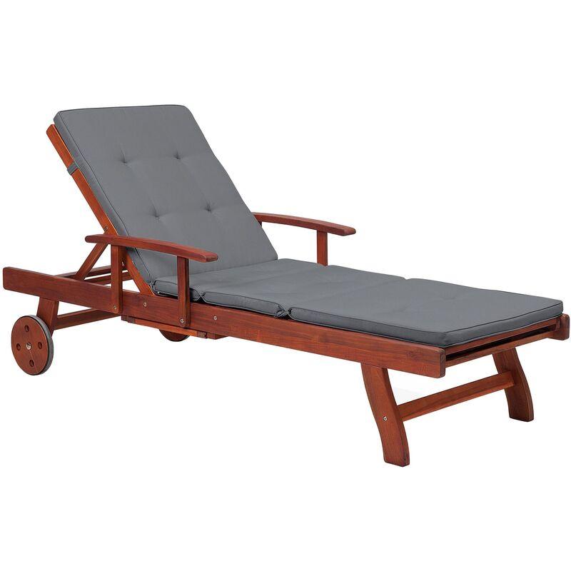 Beliani - Transat inclinable en bois avec coussin gris graphite TOSCANA