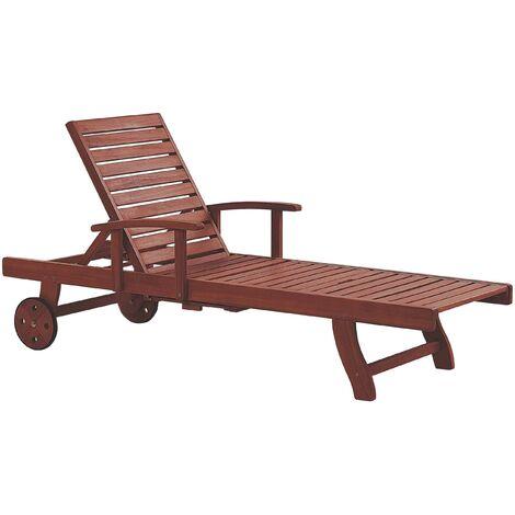 Transat inclinable en bois foncé avec tablette et roues TOSCANA