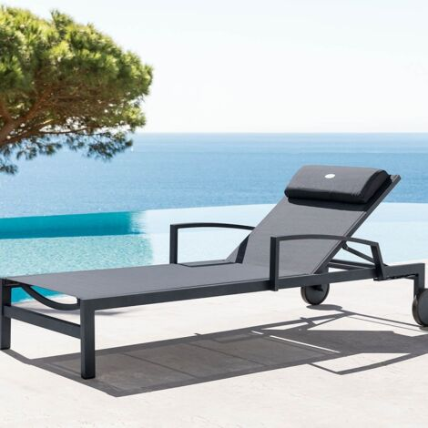 Transat Ocala inclinable coloris anthracite/graphite Hespéride - Gris