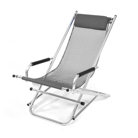 Transat pliant à bascule en aluminium tissu textilène gris mobilier ...