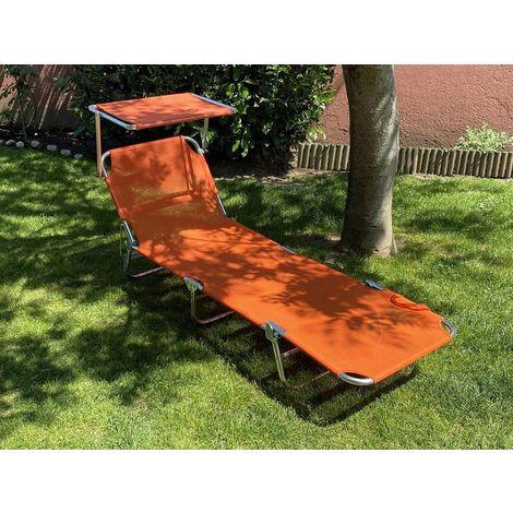 Transat pliante Matera 189x59 cm orange avec cadre en aluminium | Orange