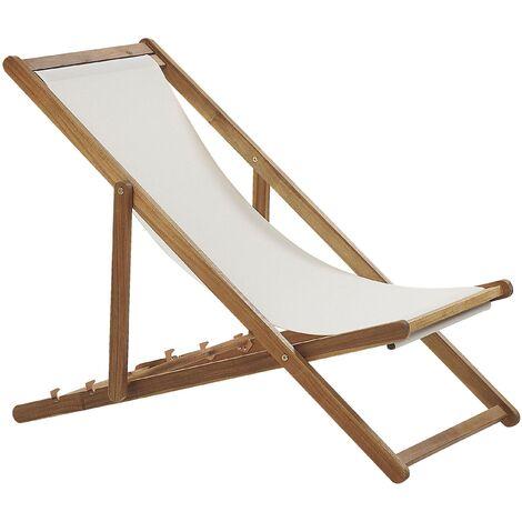 Transat type chilienne en bois d'acacia clair avec assise en tissu beige