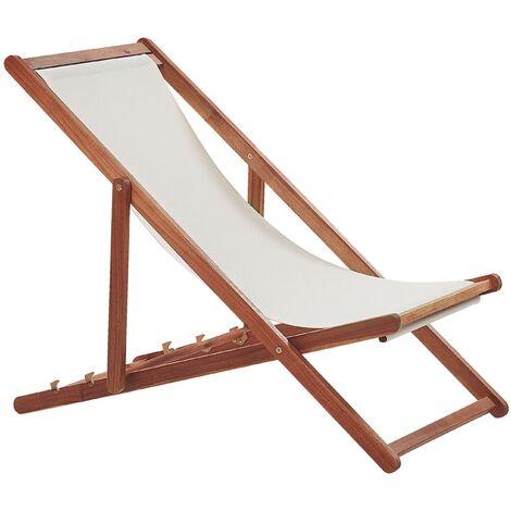 Transat type chilienne en bois d'acacia foncé avec assise en tissu beige