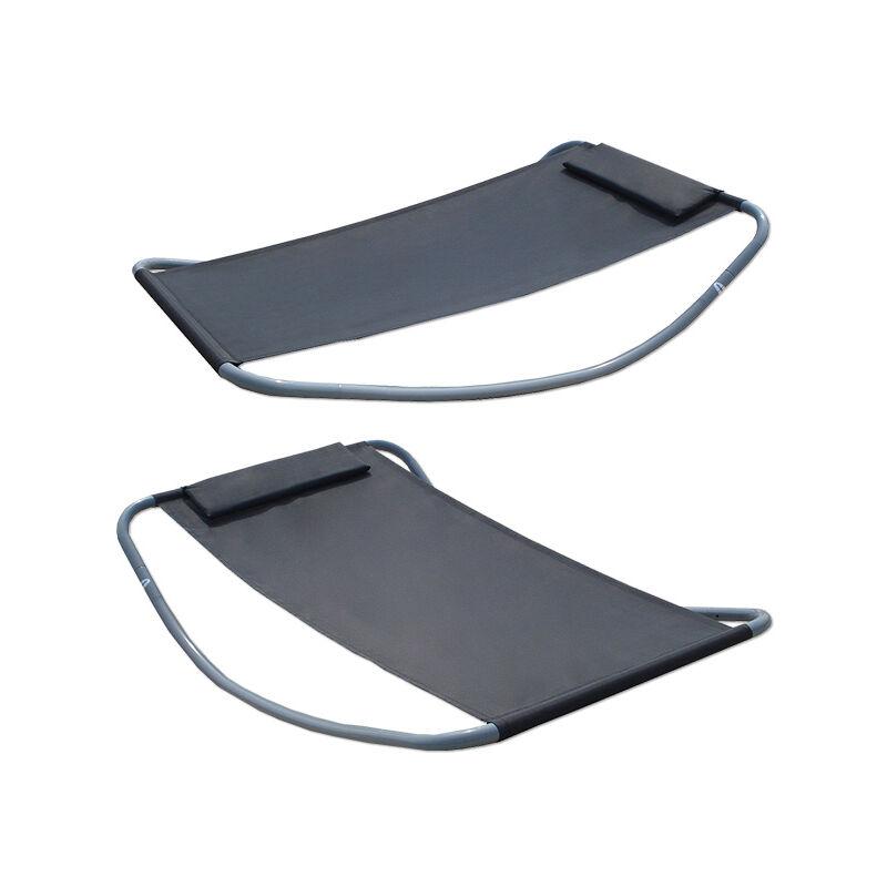 Transats à Bascule XXL | lit pour se bronzer et balancer | gris | grande ca. 200x130x32 cm | robuste structure métallique | design moderne avec