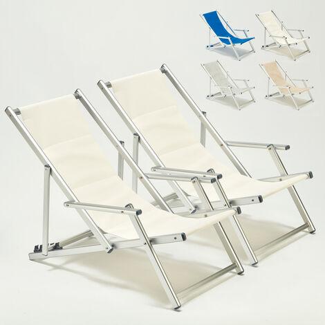 Transats chaises de plage avec accoudoirs piscine aluminium Riccione Lux 2 pcs