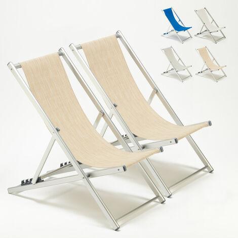 Transats chaises de plage piscine aluminium jardin Riccione 2 pcs