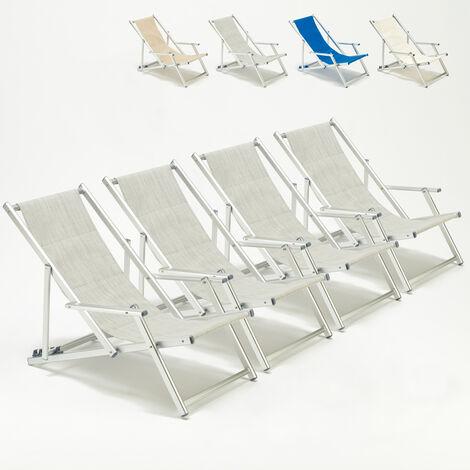 Transats de plage avec accoudoirs chaises pliants piscine aluminium Riccione Lux 4 pcs