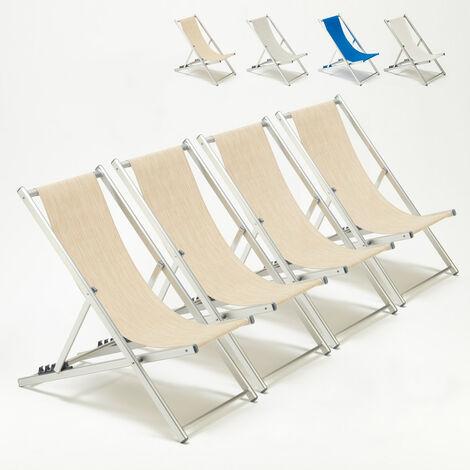 Transats de plage chaises pliantes jardin piscine aluminium Riccione 4 pcs