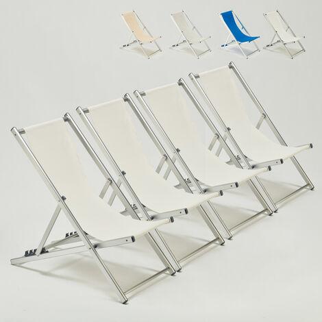 Riccione Chaises Transats De Plage Pliantes Aluminium Jardin Piscine 0kw8OnP
