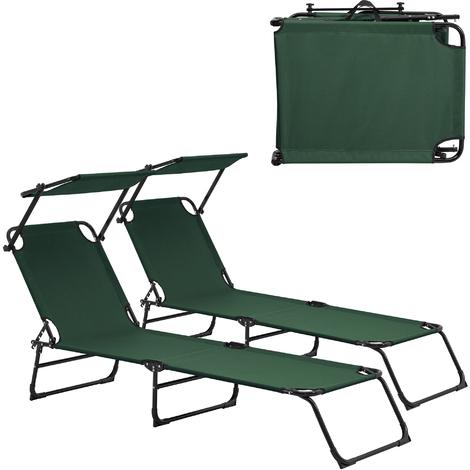 Transats [x2] pliable 190cm [diff. couleurs] avec toiture pare-soleil relax aluminium