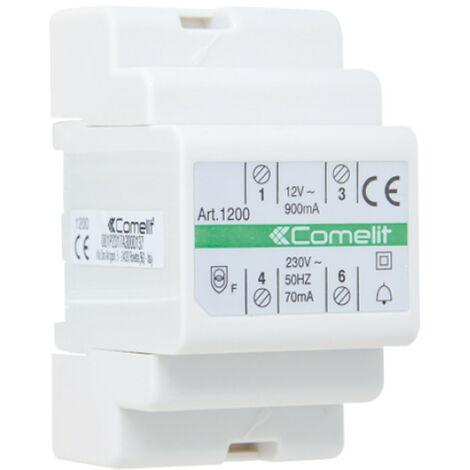 Transformador de Comelit con primaria 230V, secundaria 12V AC / 15 VA para un uso continuo