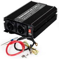 Transformador de corriente 12 V a 230 V 1000W 2000W - convertidor de tensión para portátil, transformador eléctrico de corriente sinusoidal, transformador con puerto USB - negro