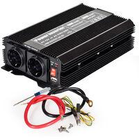 Transformador de corriente 12 V a 230 V 1500W 3000W - convertidor de tensión para portátil, transformador eléctrico de corriente sinusoidal, transformador con puerto USB - negro