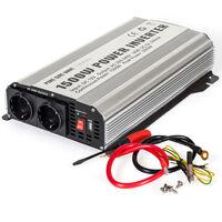 Transformador de corriente Sinus 12 V a 230 V 1500W 3000W - convertidor de tensión para portátil, transformador eléctrico de corriente sinusoidal, transformador con puerto USB - gris
