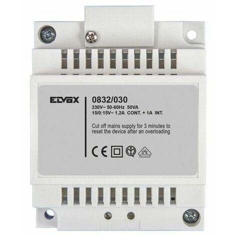 Transformador de Elvox 15V 30W Din 4 Módulos 0832/030