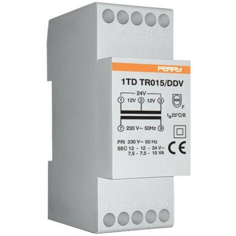Transformador de Perry 15VA salidas 12-12-24V 2 DIN 1TDTR015/DDV