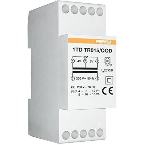 Transformador de Perry 15VA salidas de 4 a 8-12V 2 DIN 1TDTR015/QOD