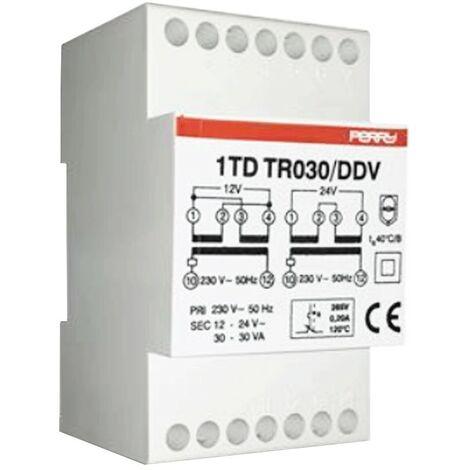 Transformador de Perry 30VA salidas 12-12-24V 3 DIN 1TDTR030/DDV